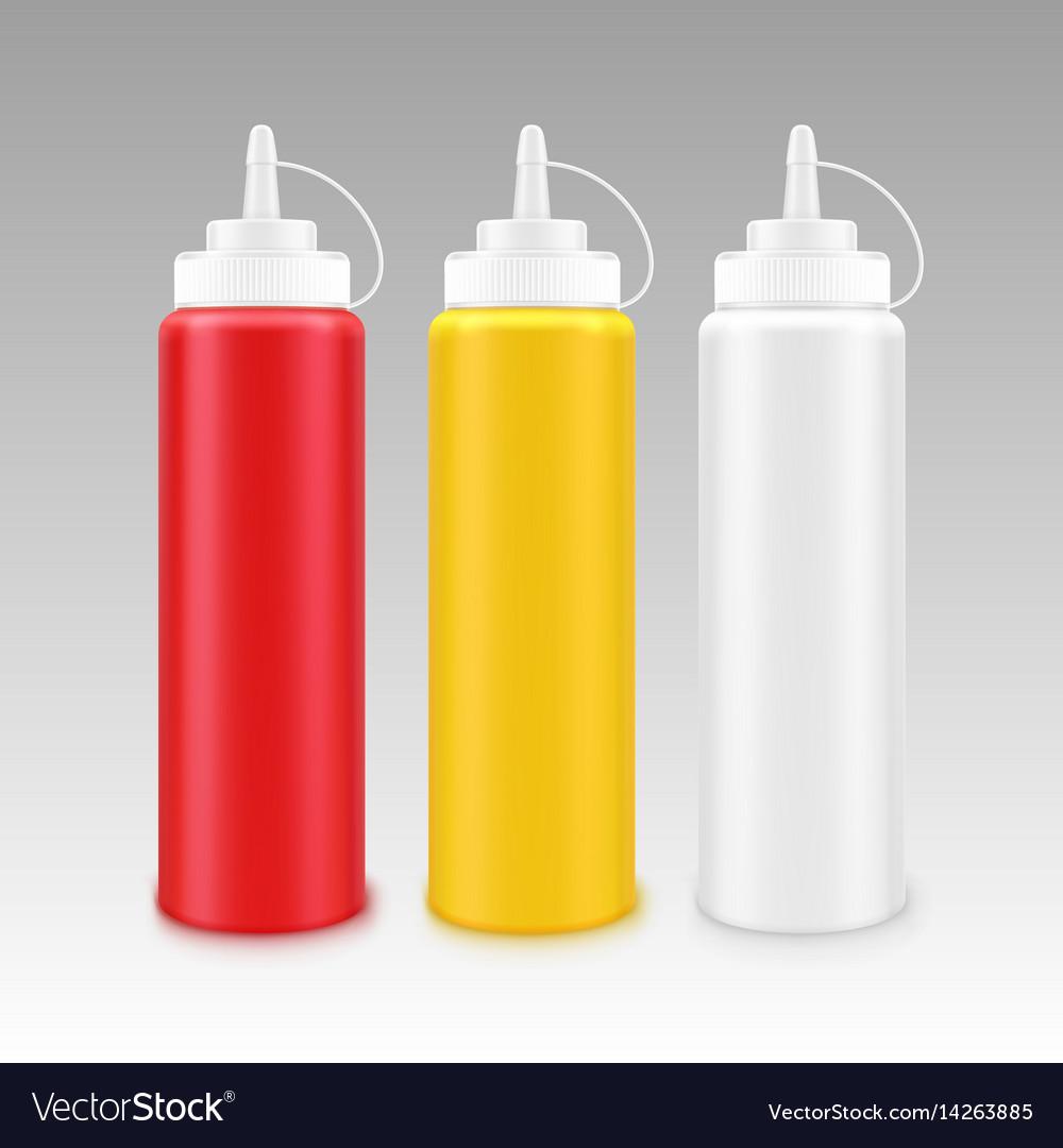 Set of plastic mayonnaise mustard ketchup bottle vector image