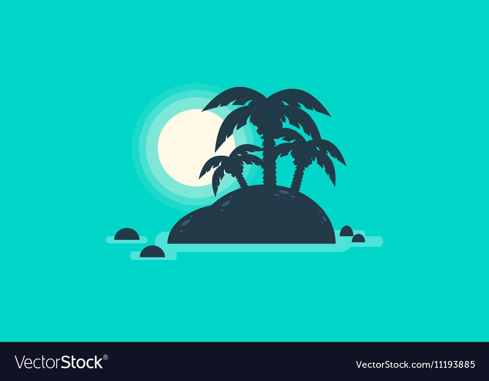 Silhouette of beautiful islands landscape vector image