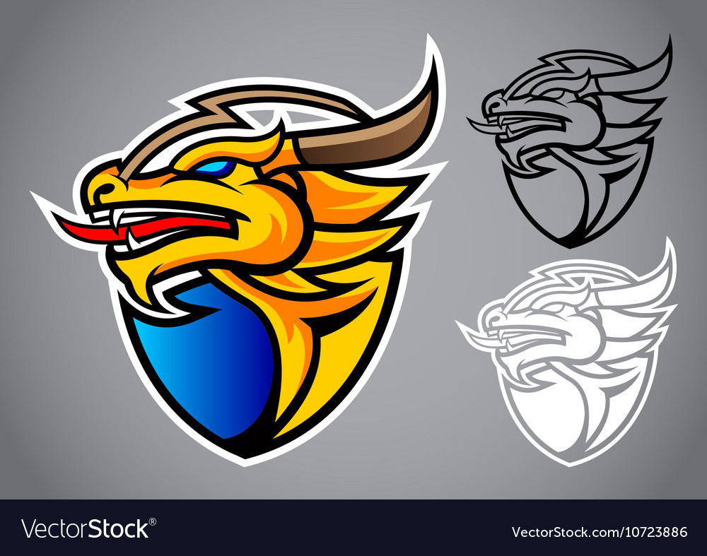 Shield gold dragon emblem logo vector image