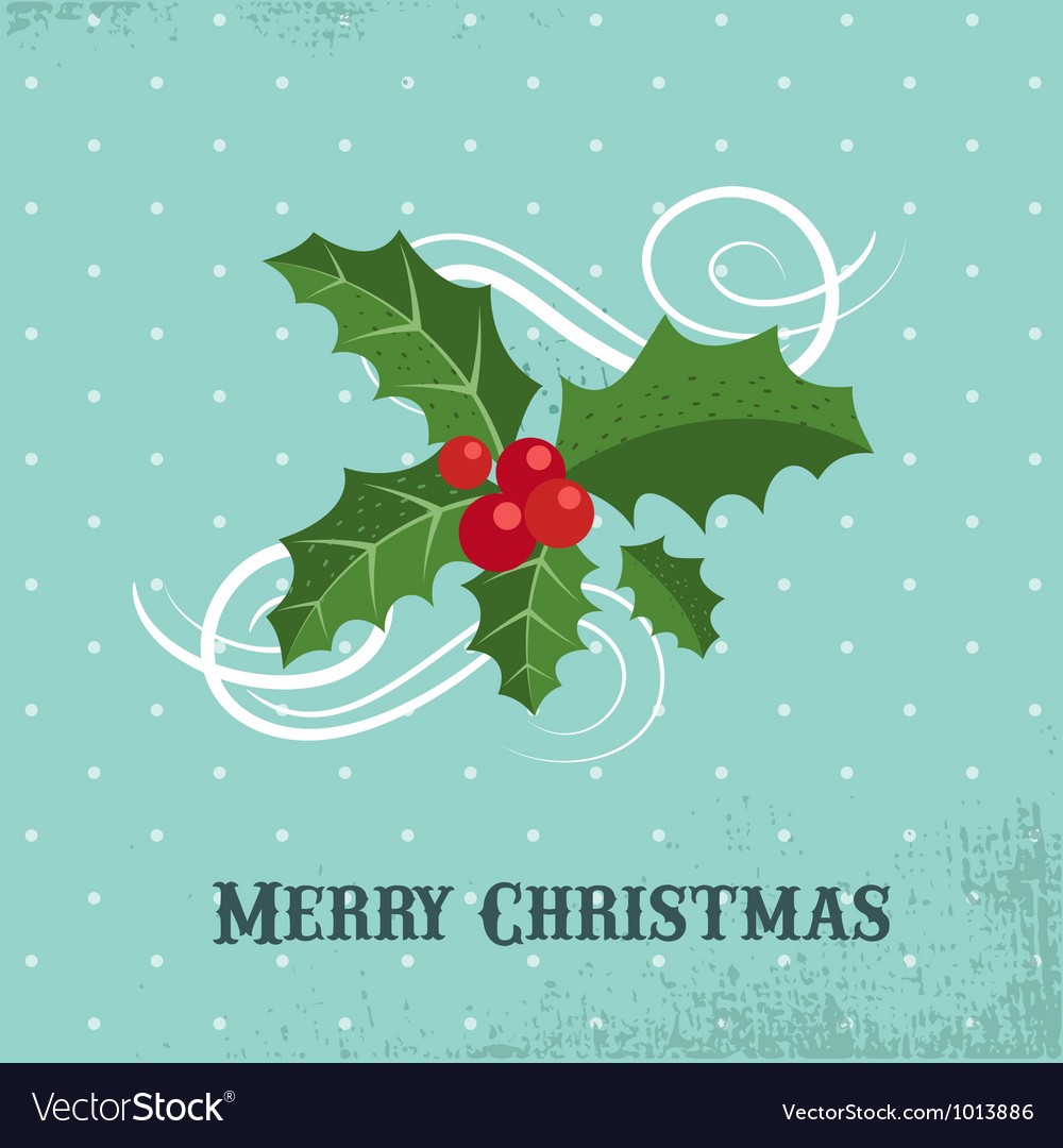 Christmas background with holly leafs vector image