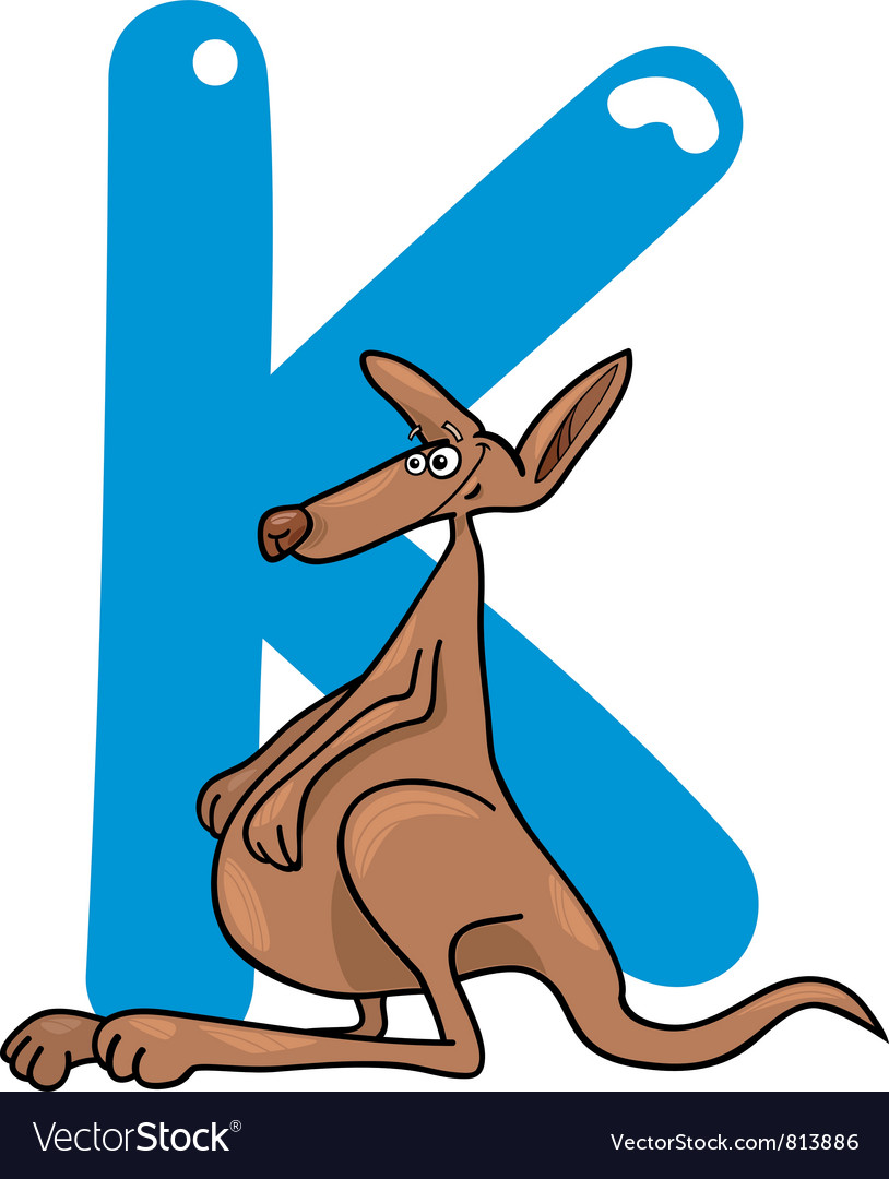 k for kangaroo vector image