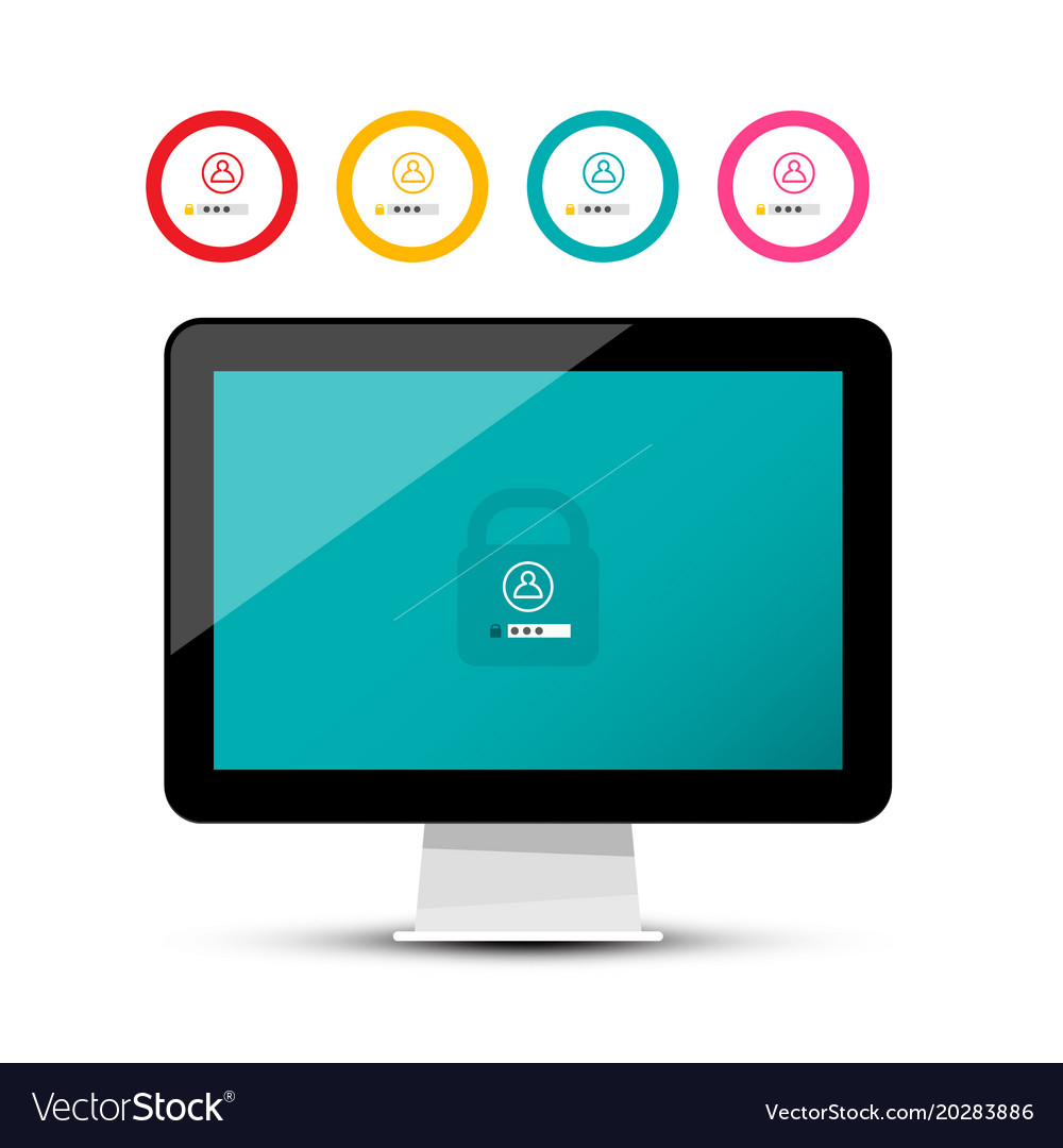 Unlock symbol on computer screen security code on vector image
