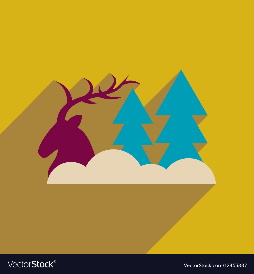 Flat web icon with long shadow deer forest