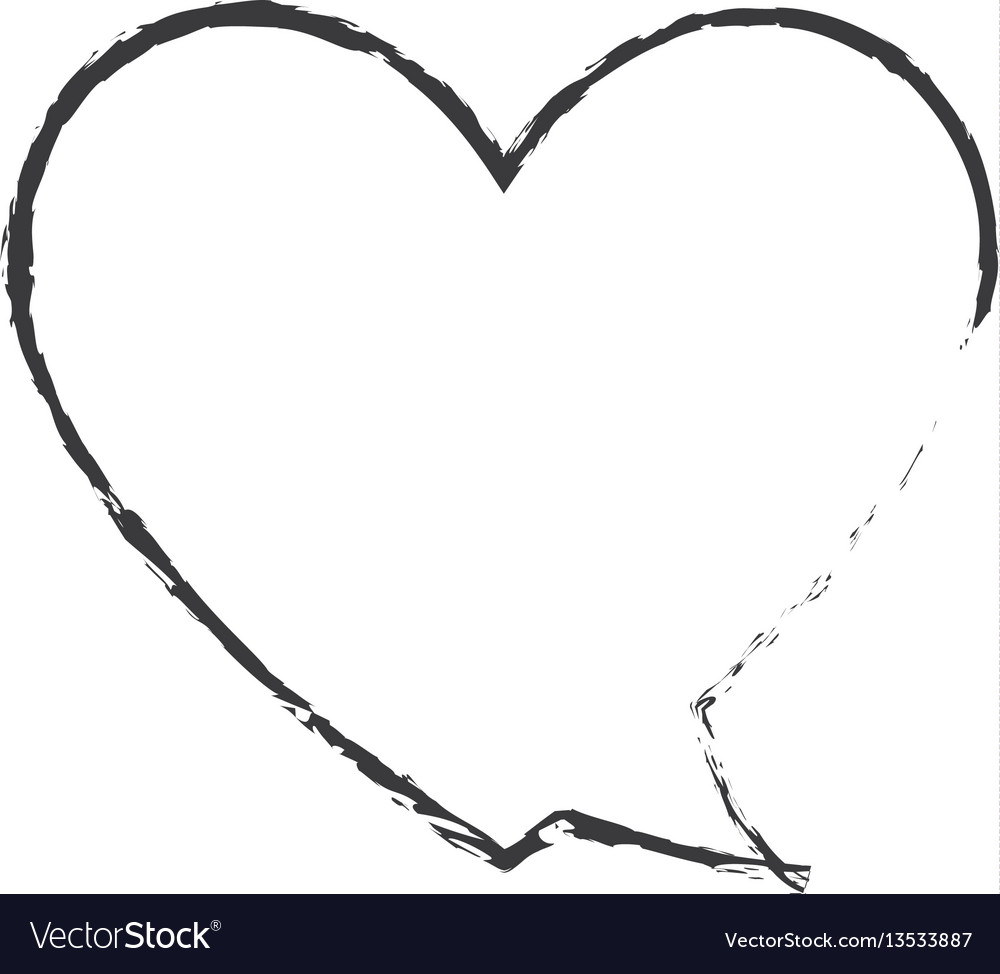 Skecth bubble speech heart shape vector image
