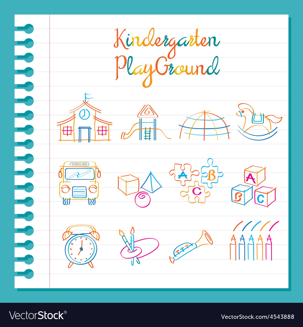Line Drawing Kindergarten : Kindergarten line drawing toys and playground set vector image