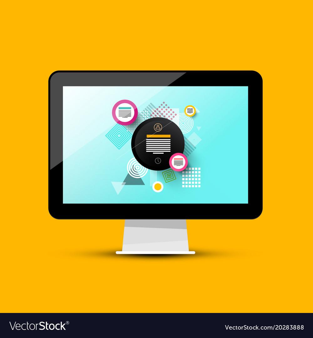 Modern web design on computer screen 3d pc vector image