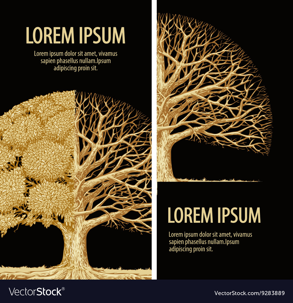 Nature brochure ecology design Hand-drawn tree vector image