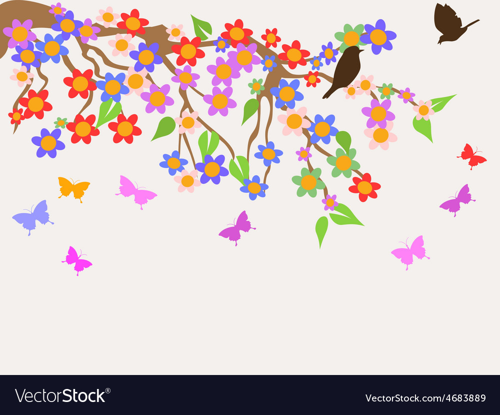 Spring flower tree background vector image