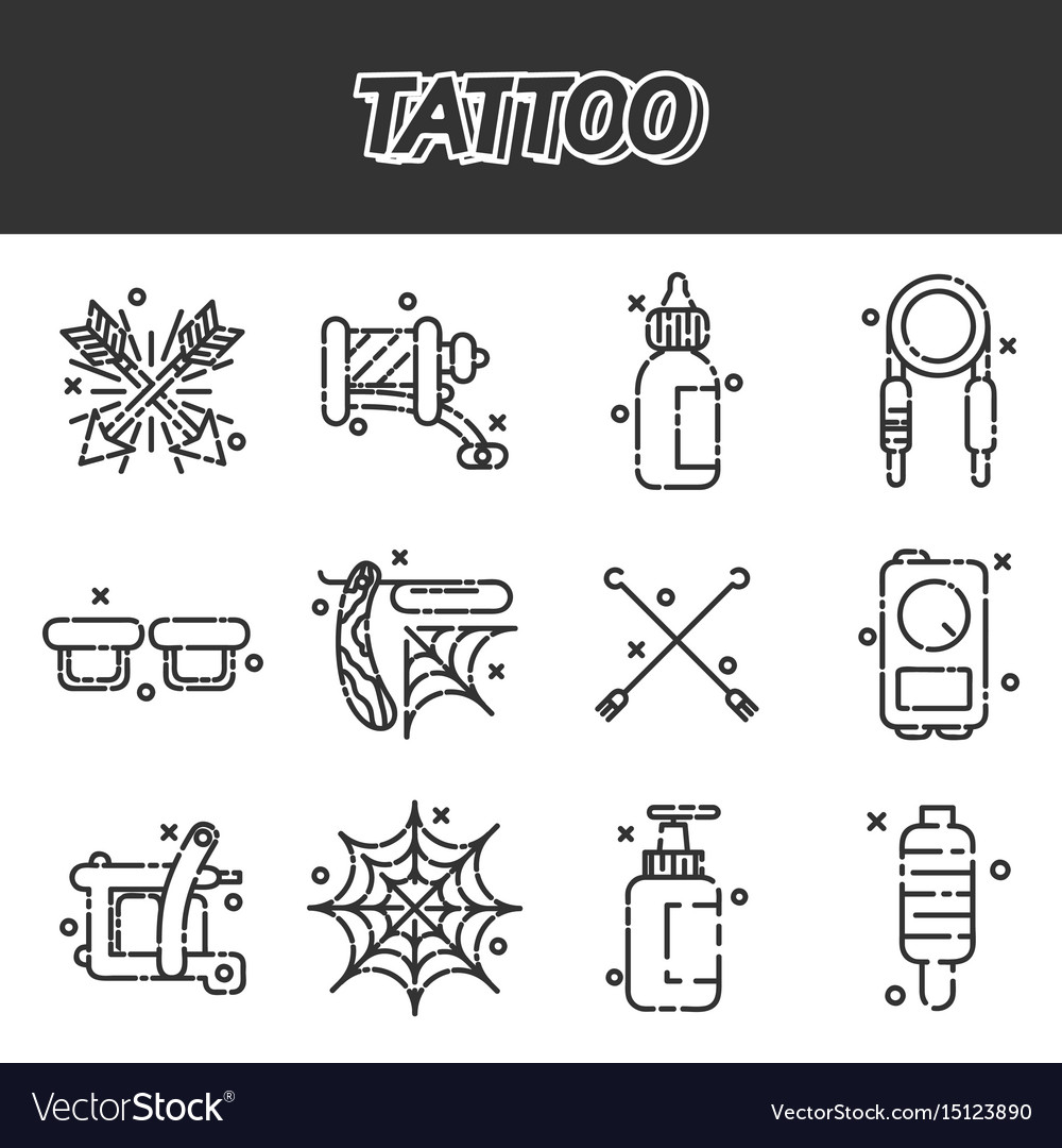 Tattoo icons set vector image