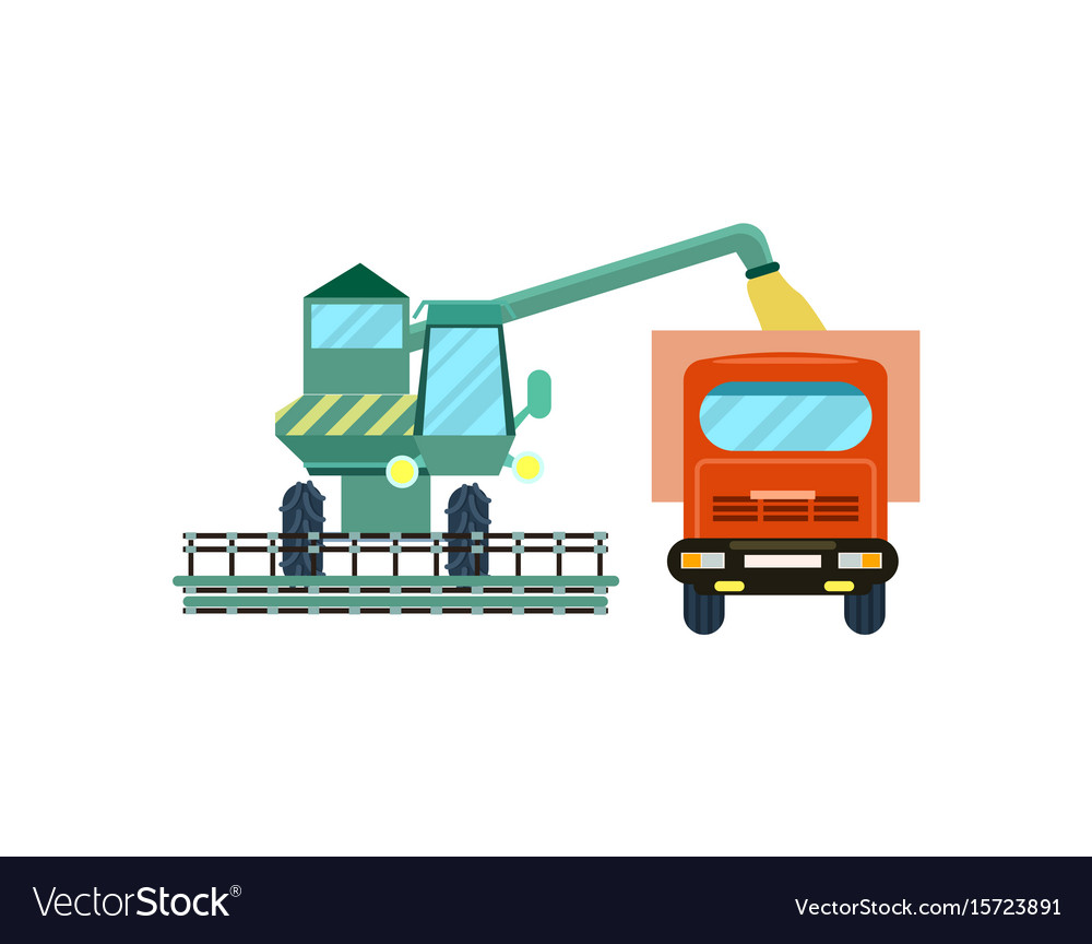 Agriculture combine harvester with tractor icon vector image