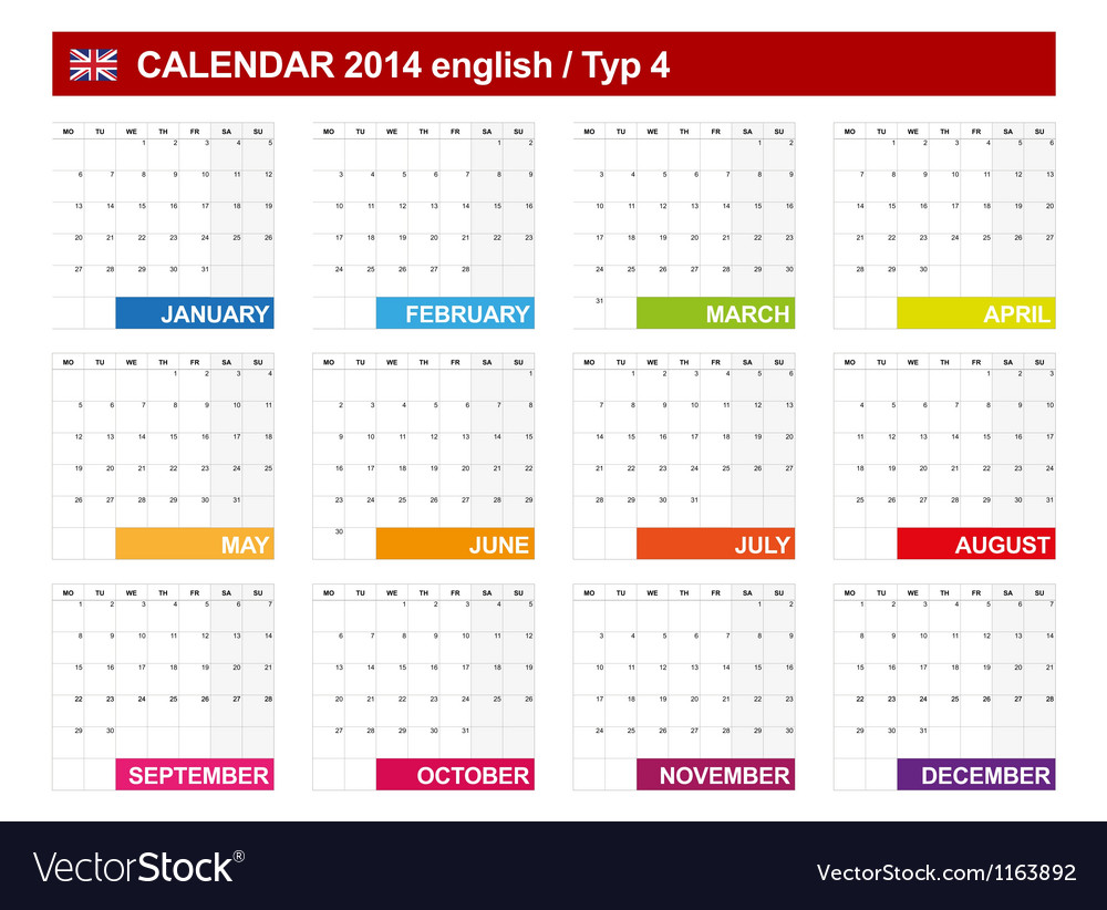 Calendar 2014 English Type 4 vector image