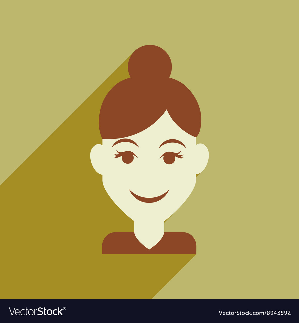 Flat web icon with long shadow womens haircut