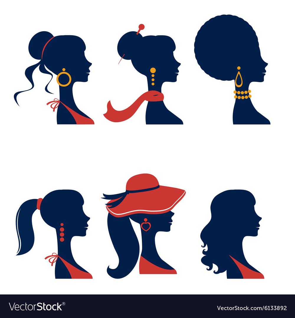 Beautiful elegant women silhouettes set vector image