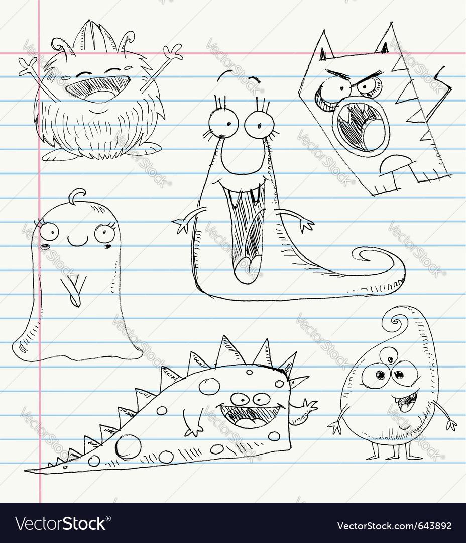 Monster doodles set 1 vector image