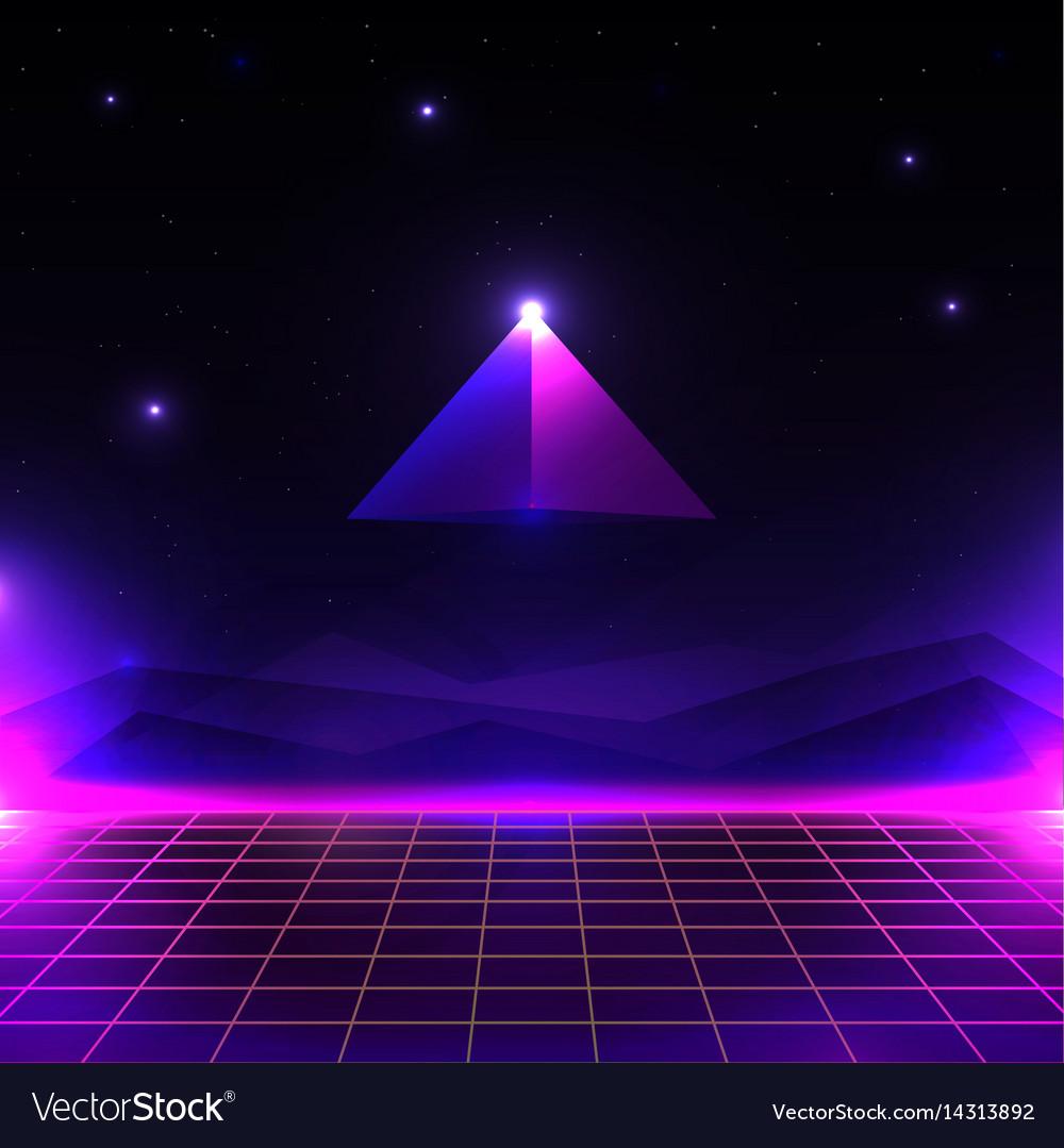 Retro futuristic landscape glowing cyber world vector image