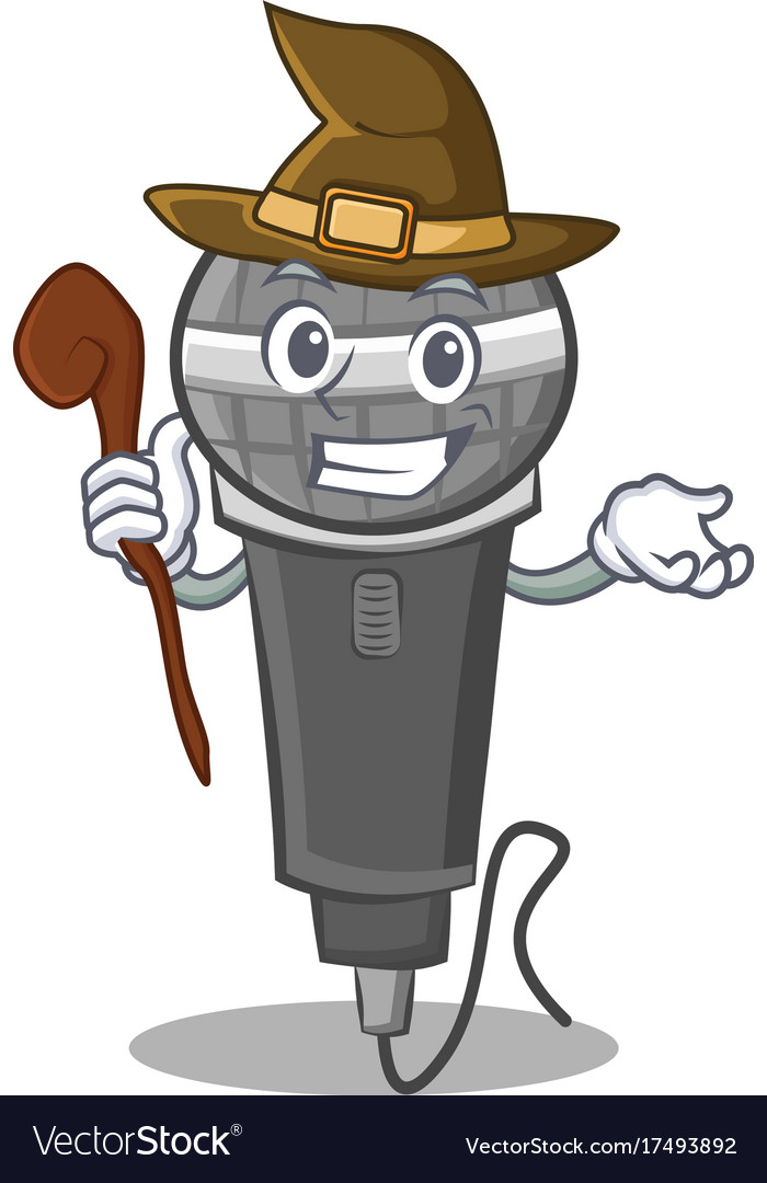 Cartoon Character Design Vector : Witch microphone cartoon character design vector image