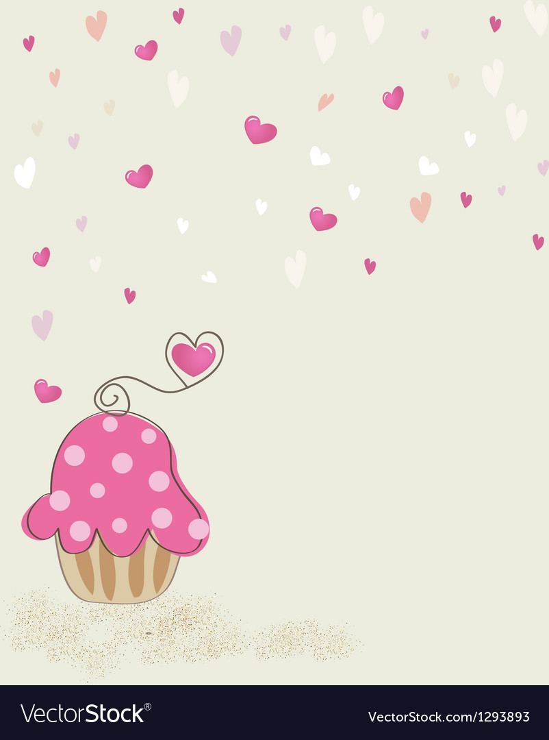 Piece of cake cupcake vector image