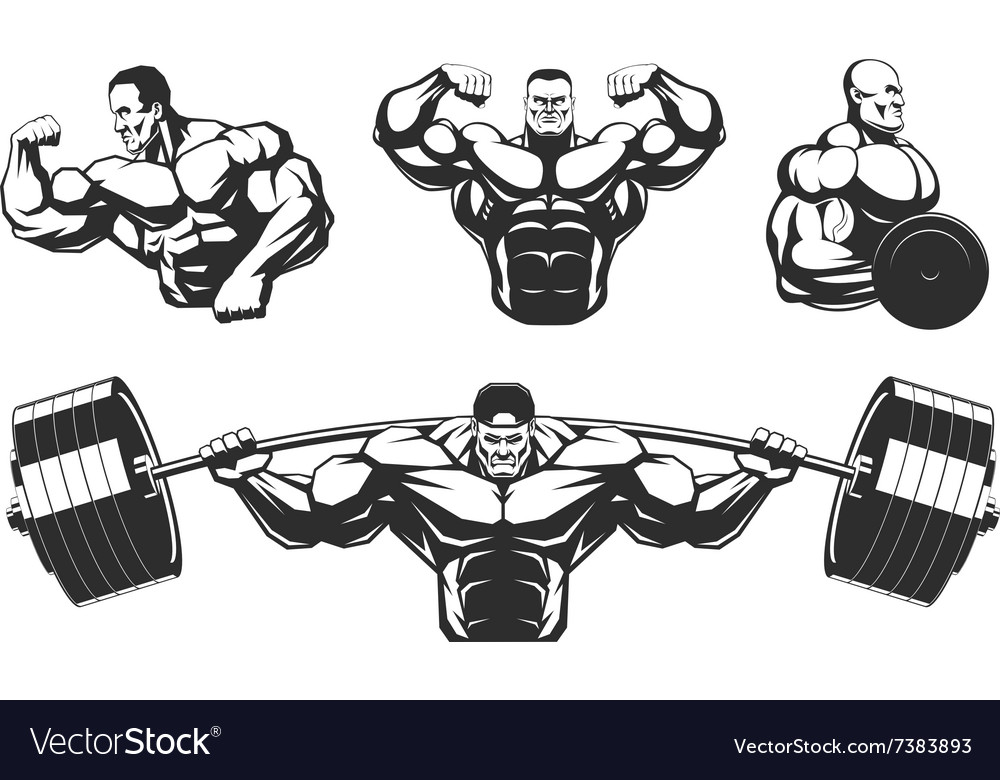Silhouettes athletes bodybuilding Royalty Free Vector Image