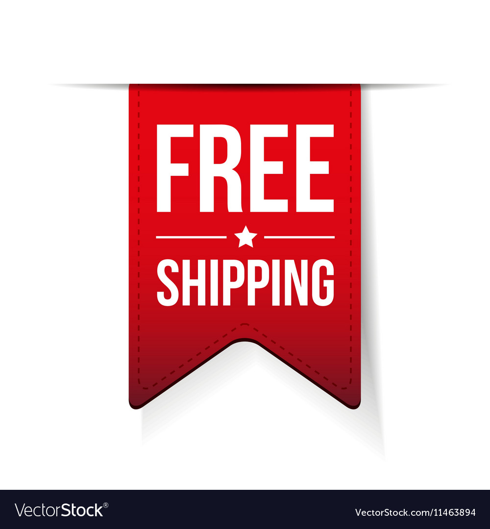 Free Shipping ribbon red vector image