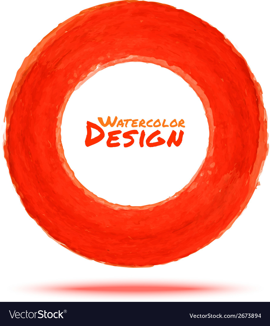 Hand drawn watercolor red circle design element vector image