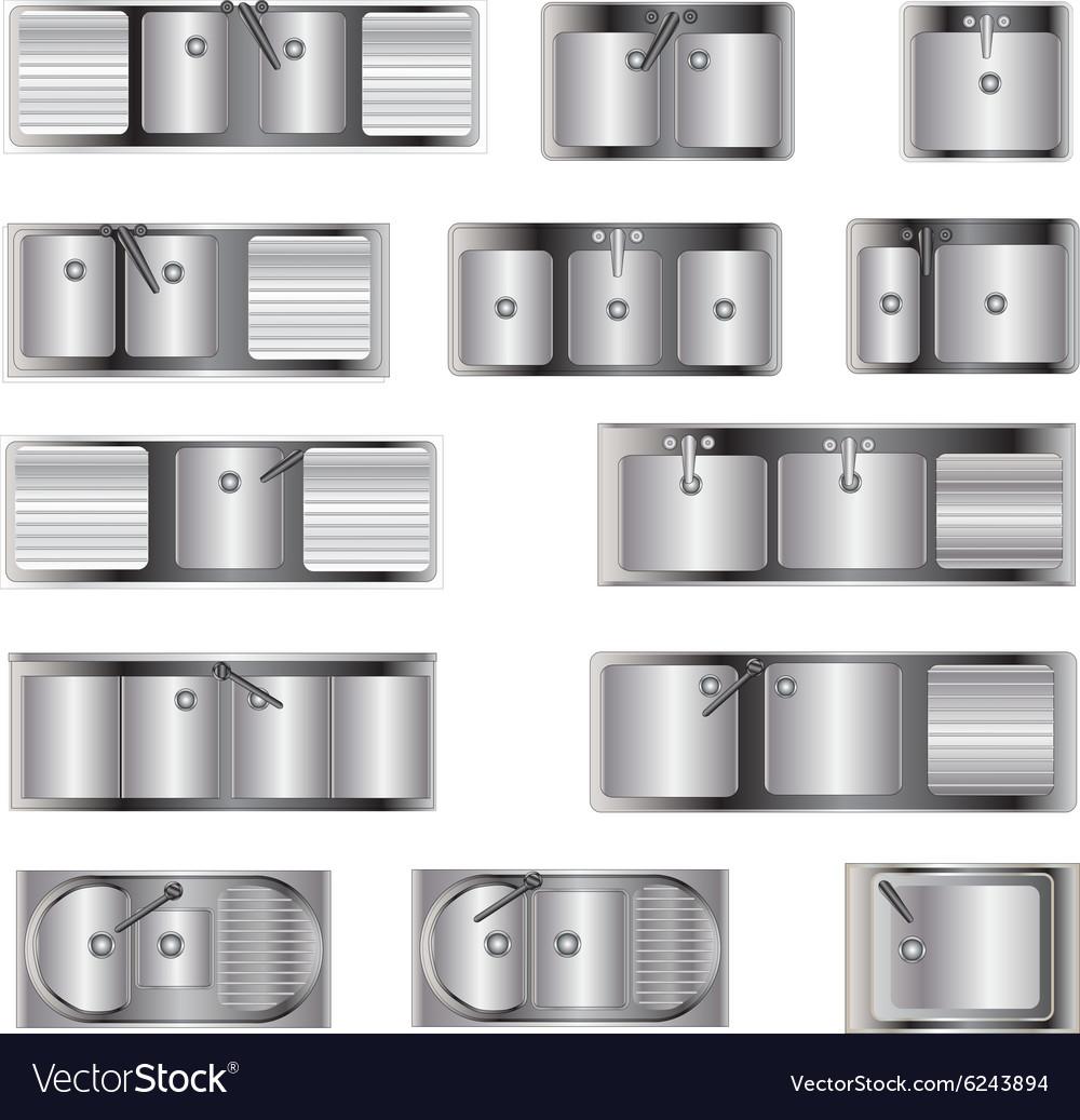 Kitchen Set Top View: Kitchen Equipment Sinks Top View Set 2 Royalty Free Vector