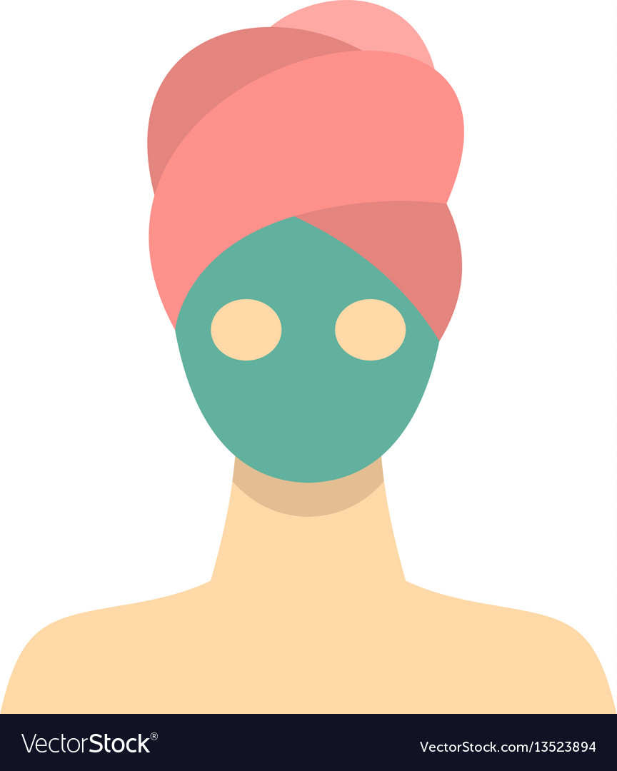 Spa facial clay mask icon flat style vector image