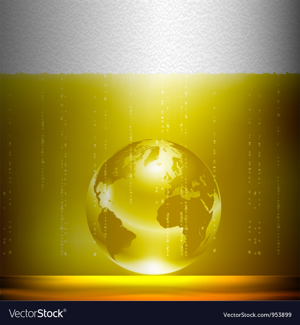 Beer background with globe vector image