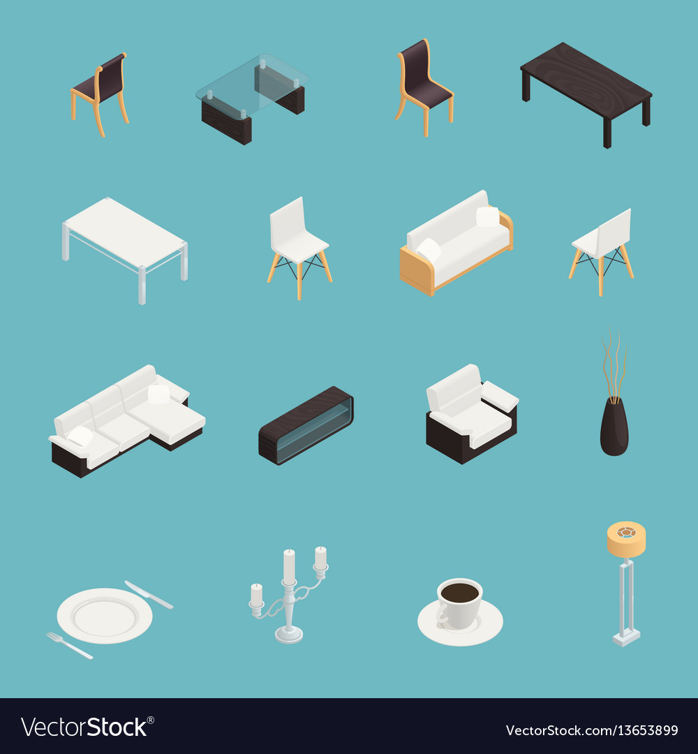 Dining room interior icons set vector image