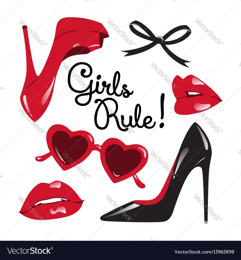 Fashion set high heeled shoes glasses lips vector image
