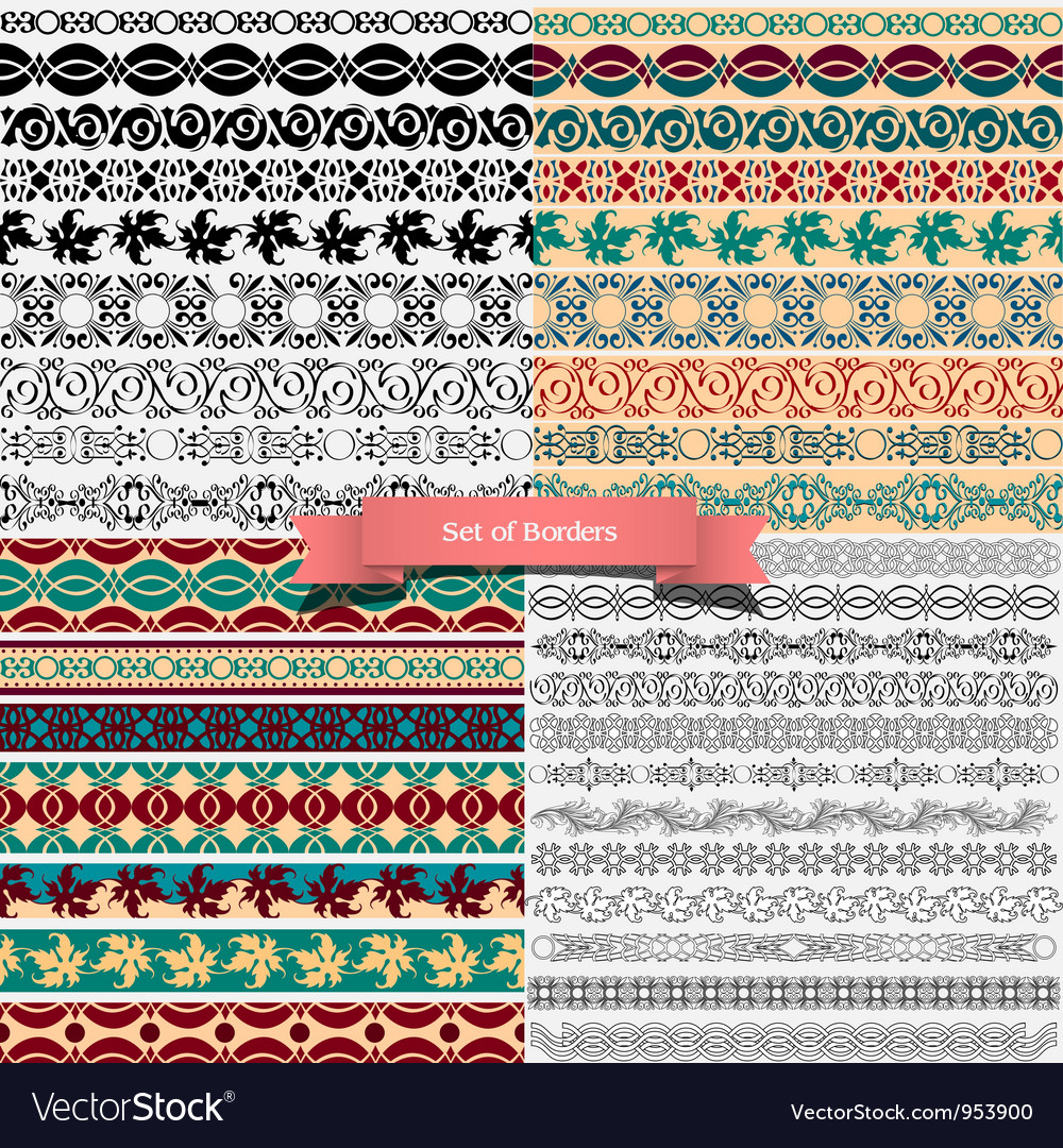 Big set of of vintage borders for design vector image