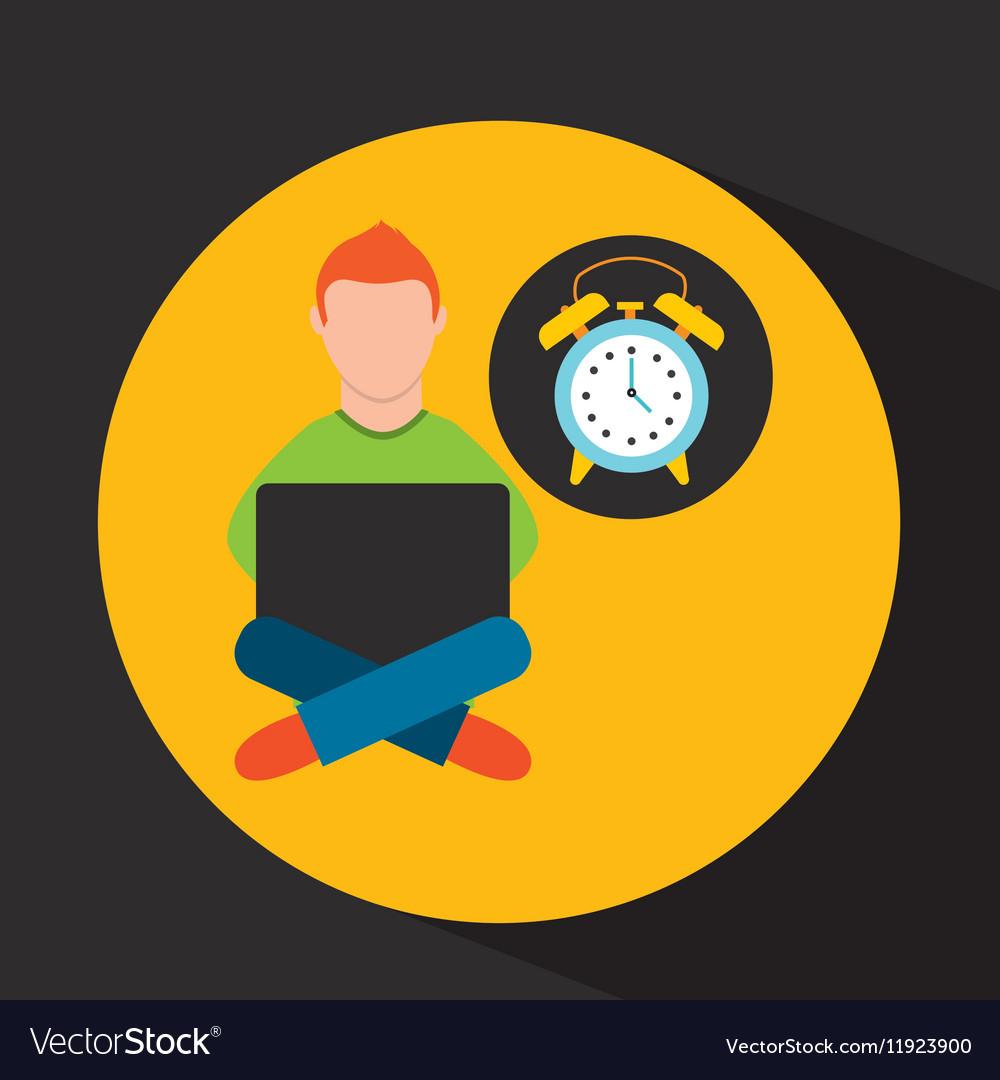 Online training education-student clock alarm vector image