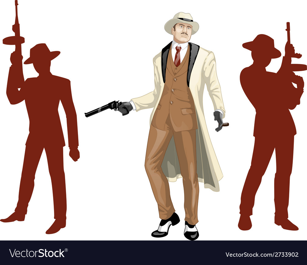 Caucasian mafioso godfather with crew silhouettes vector image