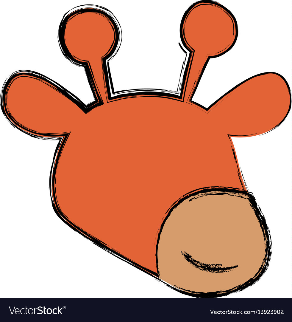 Giraffe cartoon head childish faceless vector image