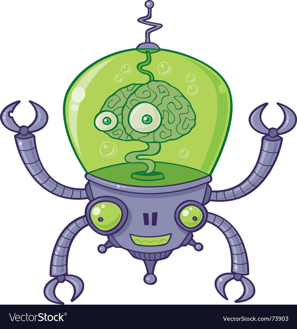 Brainbot robot with brain vector image