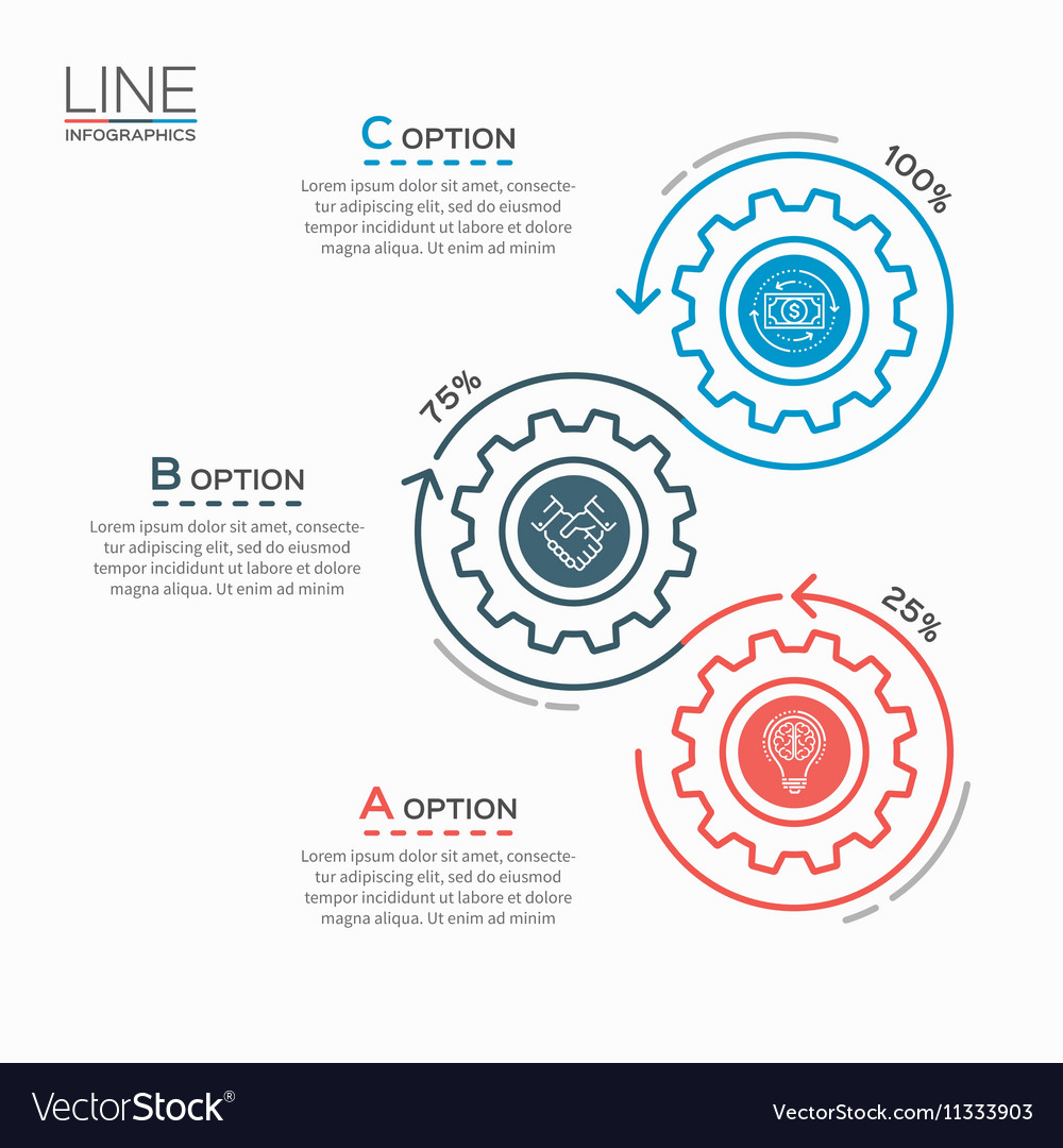 Thin line business infographic template with gears vector image