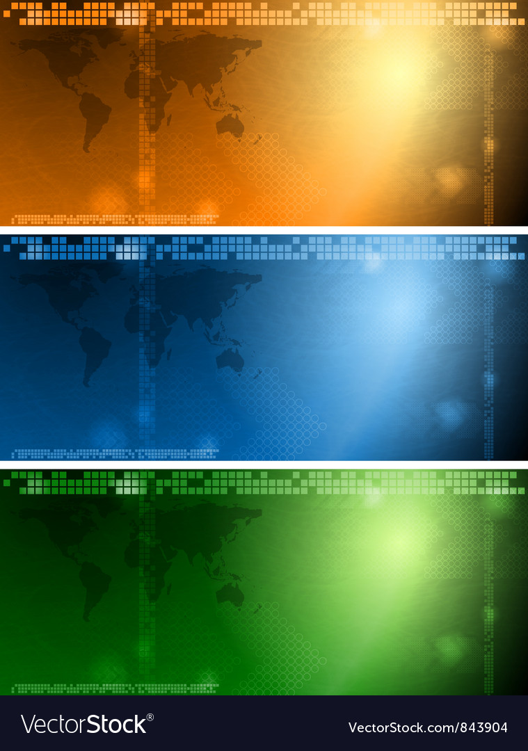 Colourful tech banners vector image