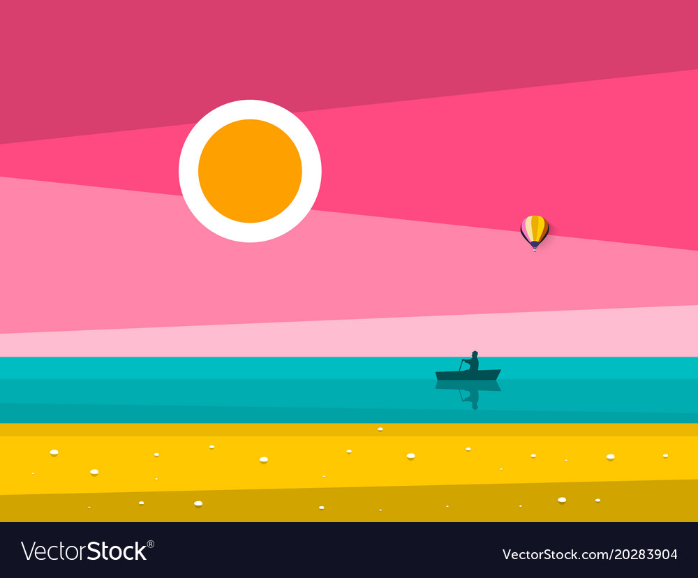 Sunset ocean landscape sunrise sea with man on vector image