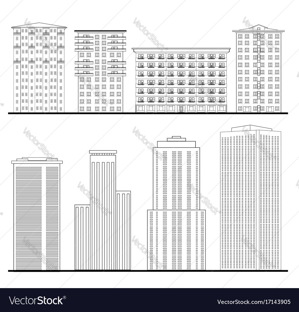 City Buildings Set Outline Blueprint Skyscraper Vector Image