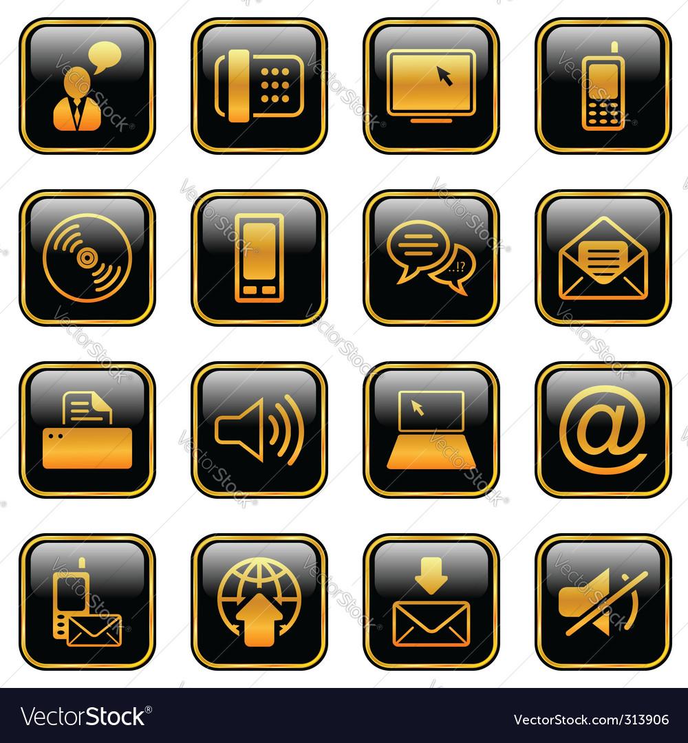 Communication icon set golden series vector image