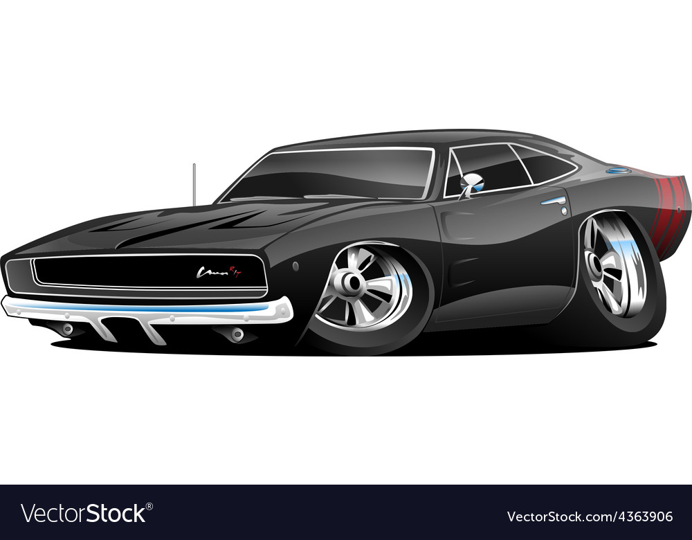 American Classic Muscle Car Cartoon Royalty Free Vector