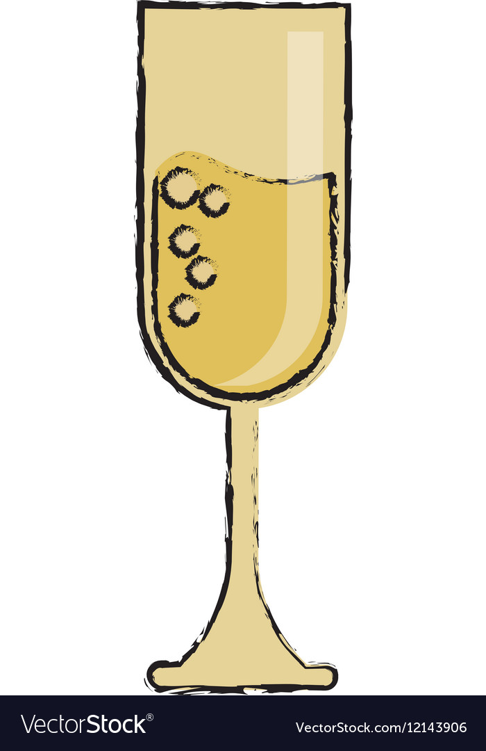 Cartoon cup glass champagne love celebration vector image