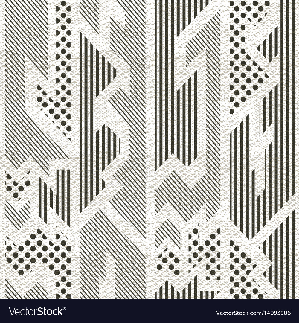 Monochrome cloth pattern with grunge effect vector image