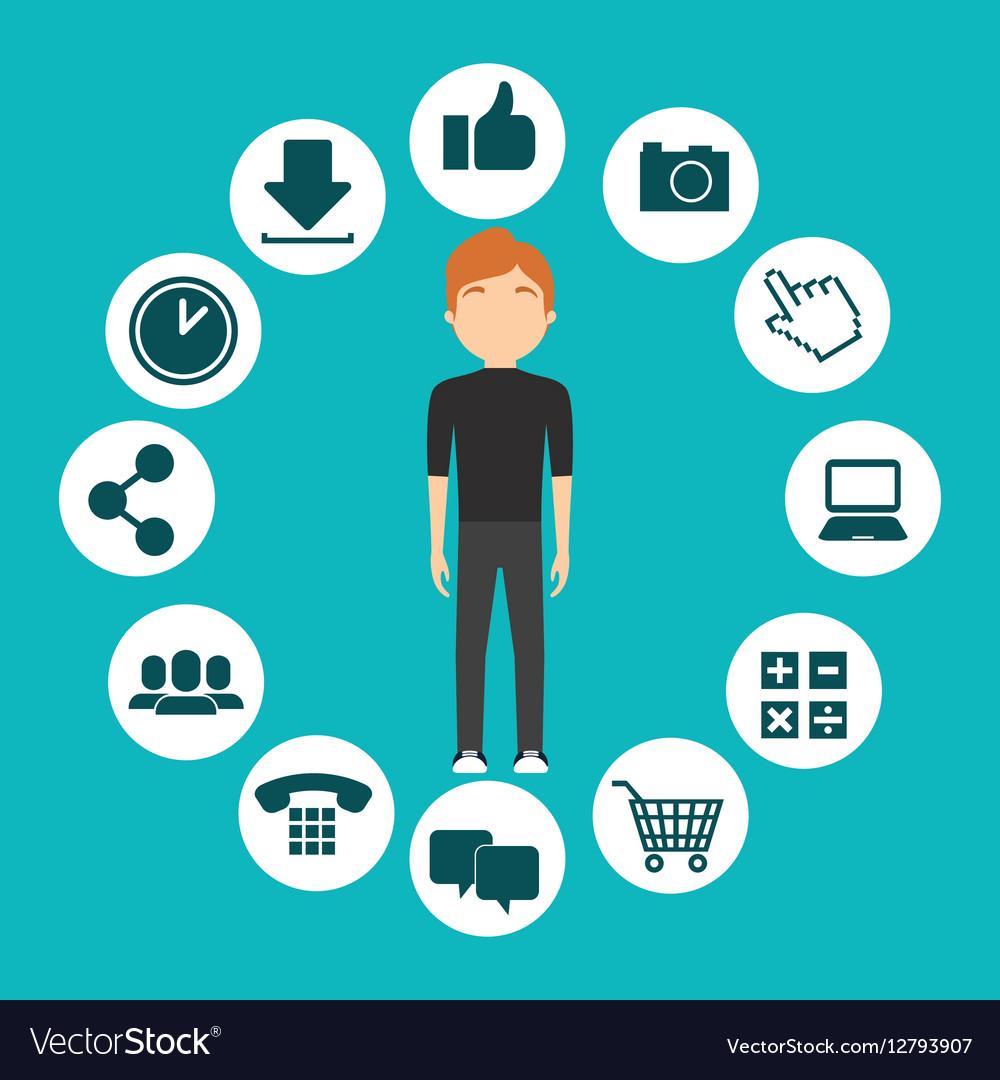 Character man social media frame design vector image