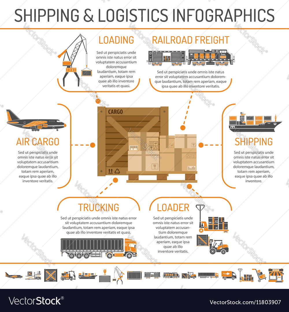 Shipping and logistics infographics vector image
