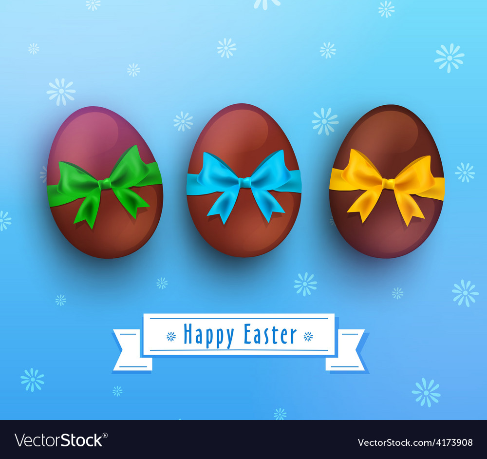 Easter chocolate egg with ribbon on blue vector image
