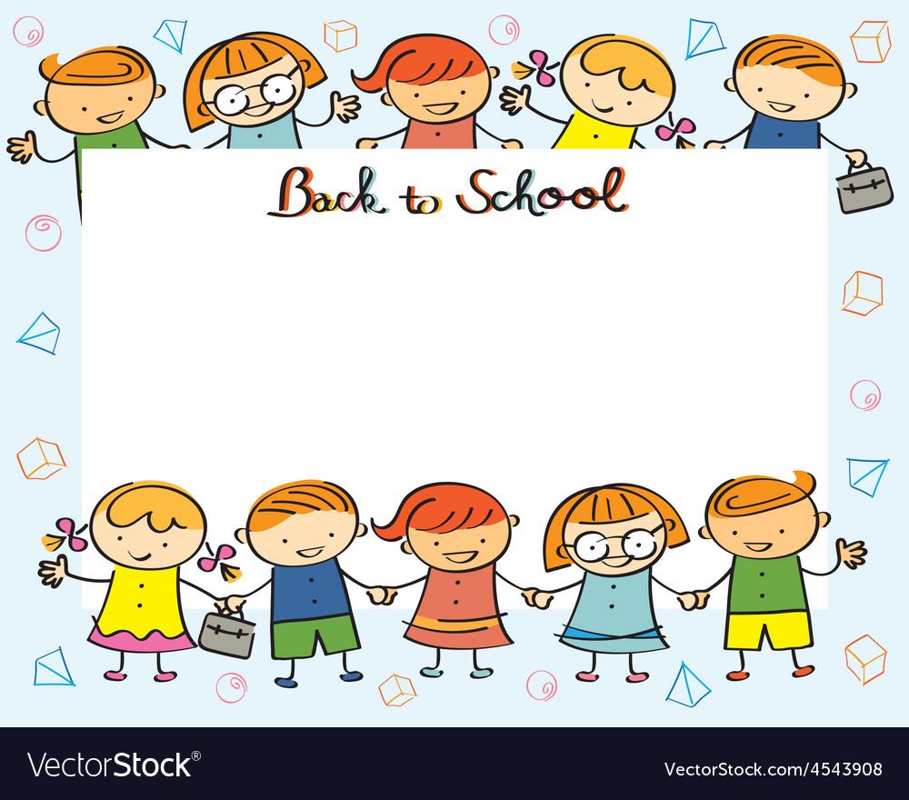 Vector Drawing Lines Kindergarten : Kindergarten kids back to school frame royalty free vector