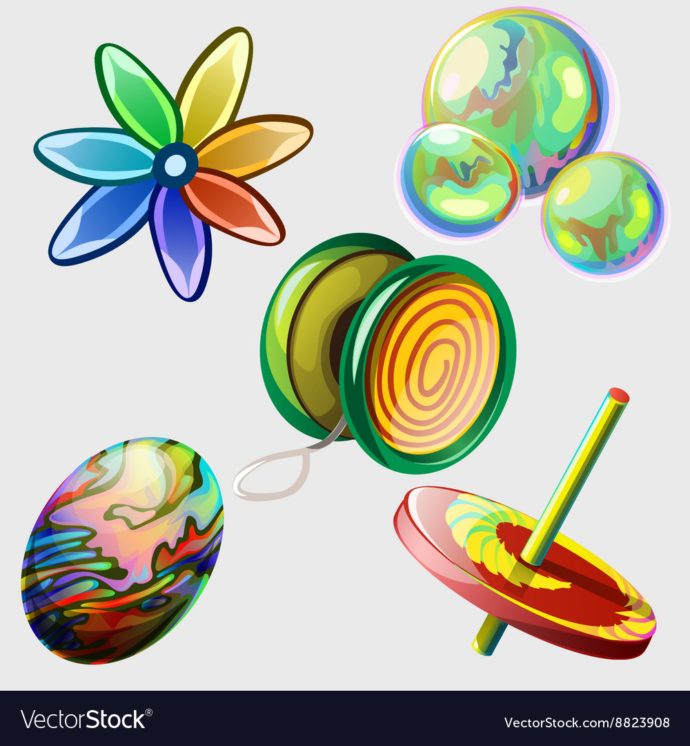 Pinwheel bubbles ball and other toys Five items vector image