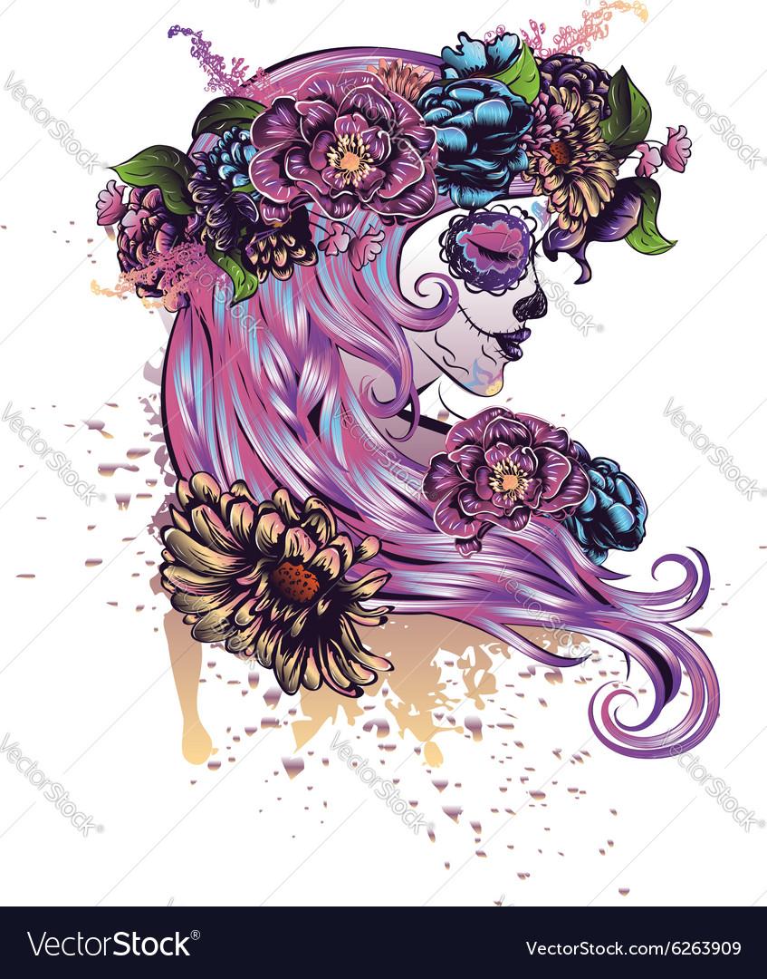 Sugar Skull Girl in Flower Crown vector image