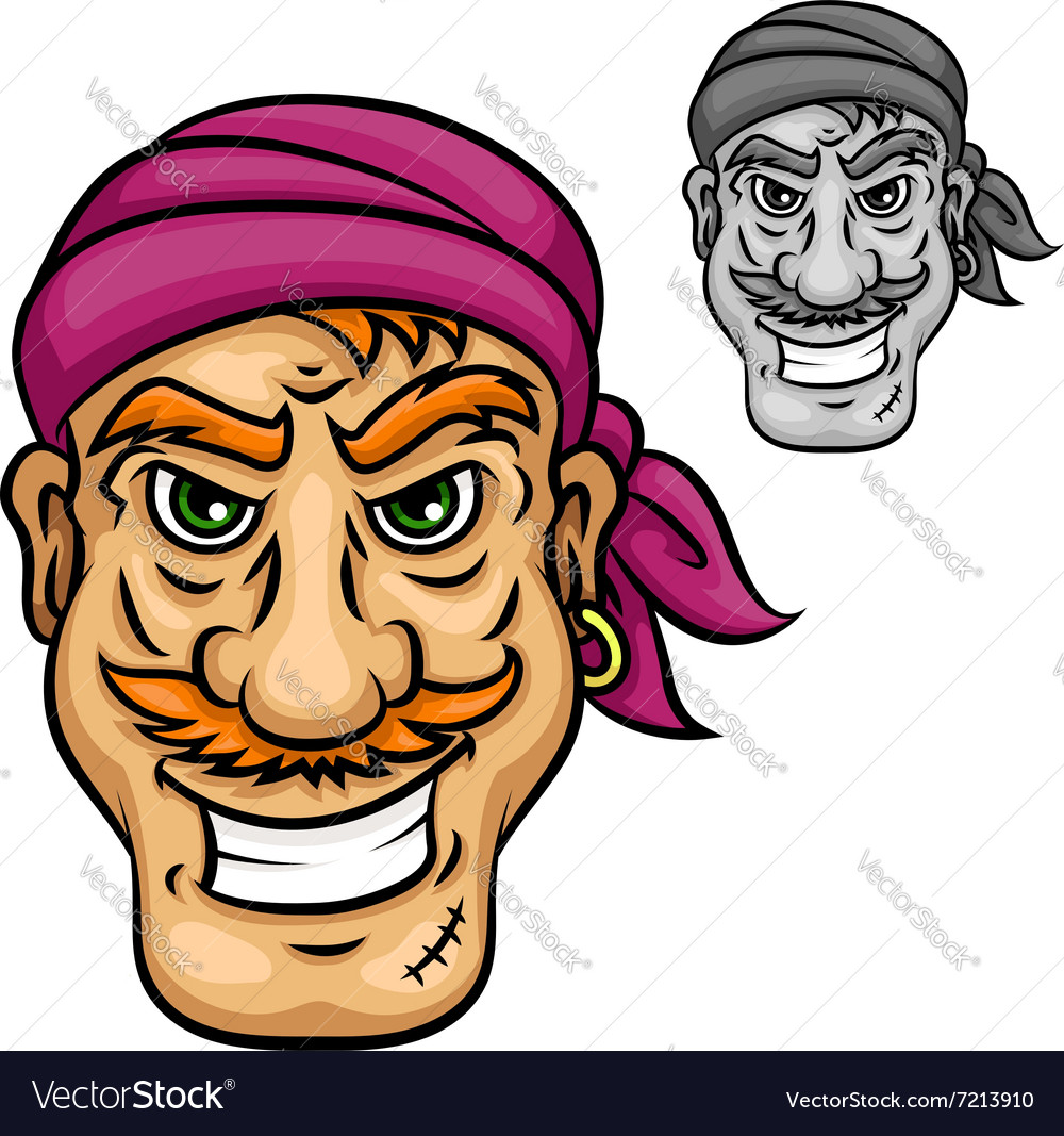 Cartoon pirate or sailor with red moustache vector image