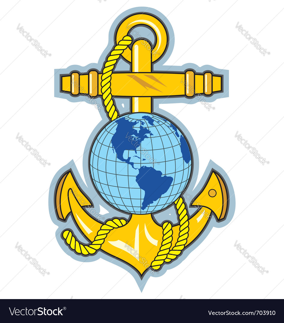 Gold anchor an globe logo vector image